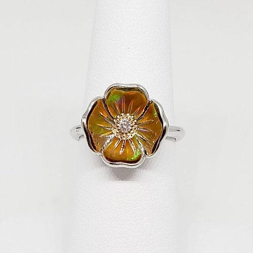 California Poppy Opal and Diamond Ring