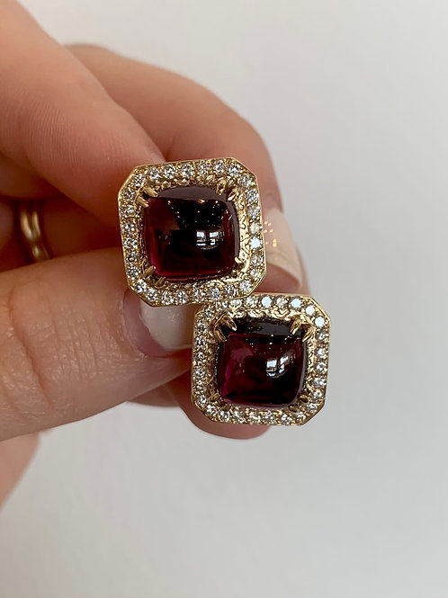 diamond garnet earrings