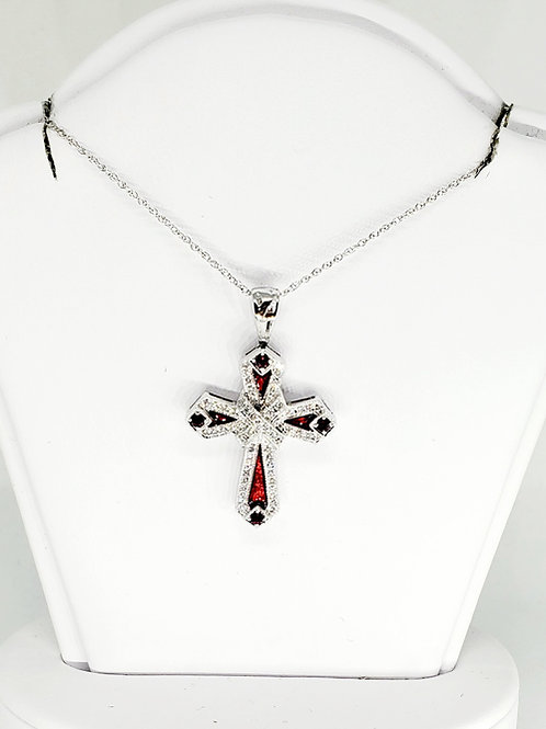 Ruby and Diamond Cross Necklace