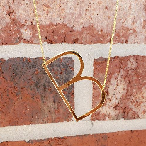 B Sideway Initial Necklace