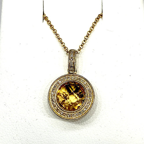 Citrine and Diamond Necklace