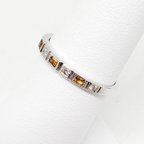 Citrine and Diamond Stackable