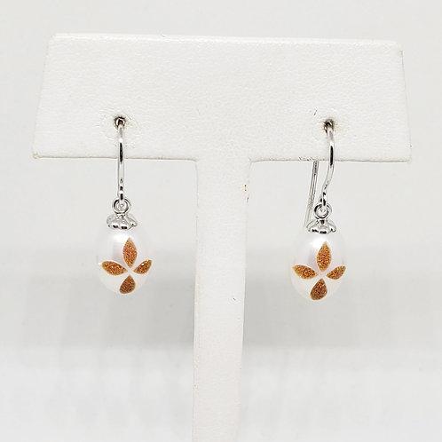 Diamond Bible Pearl Earrings
