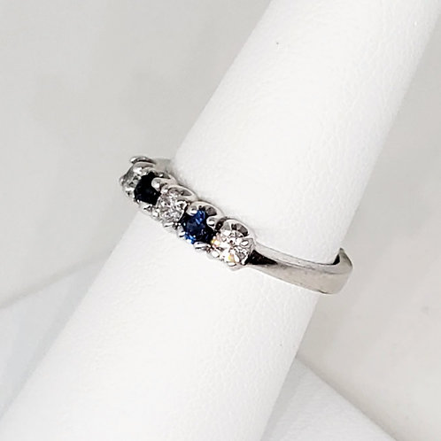 Sapphire and Diamond Wedding/Anniversary Band