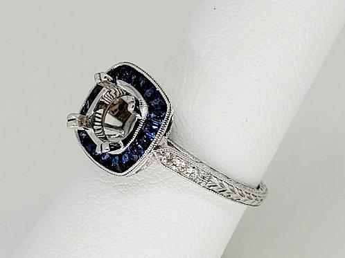 Sapphire and Diamond Semi-Mount Engagement Ring