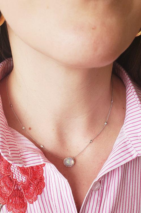 Opal Station Necklace