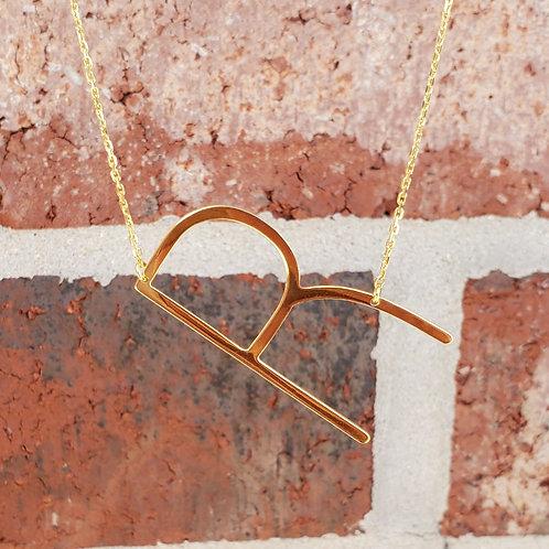 R Sideway Initial Necklace
