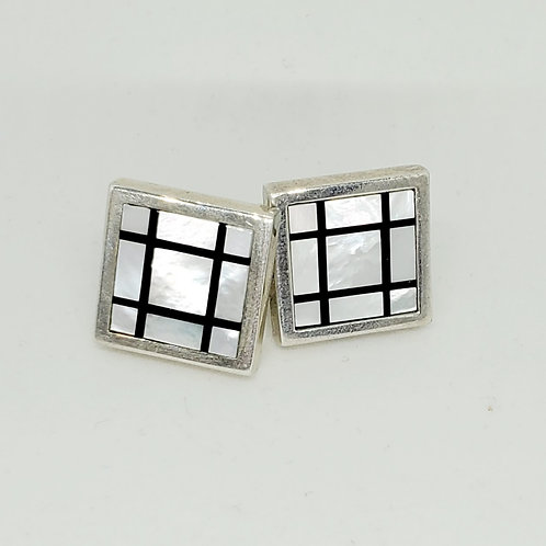 Custom Mother of Pearl and Onyx Inlay Cuff Links