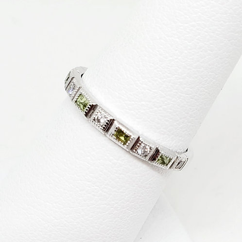 Peridot and Diamond Stackable