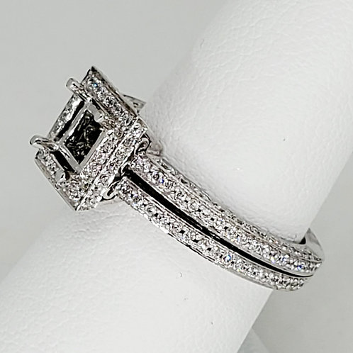 Princess Halo Semi-Mount Engagement Ring