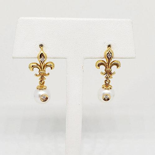 FDL Diamond In A Pearl Earrings