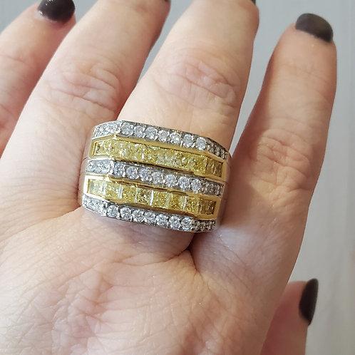 Men's Yellow and White Diamond Ring