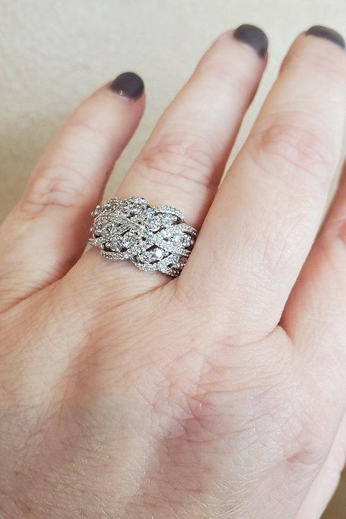 Criss Cross Diamond Cluster Ring