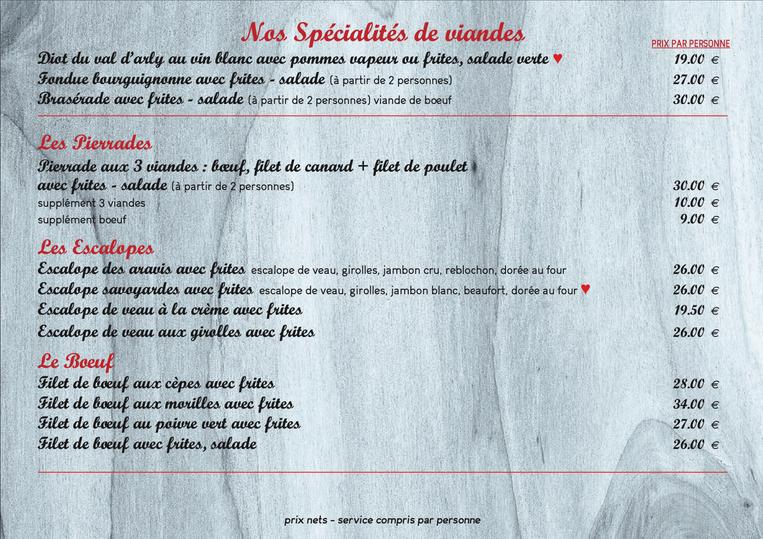 nos spécialités de viandes
