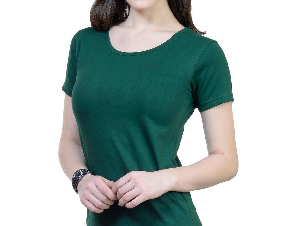 Bottle Green Solid Crew Neck T-Shirt For Women