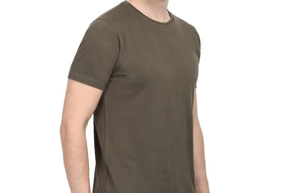 Olive Green Cotton T-Shirt For Men