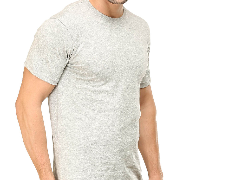 Grey Melange Cotton T-Shirt For Men