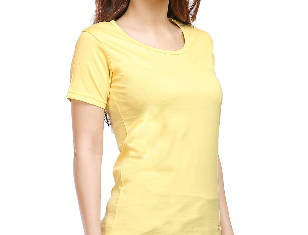 Yellow Solid Crew Neck T-Shirt For Women