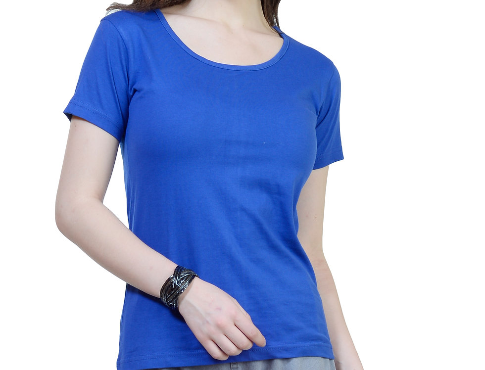 Royal Blue Solid Crew Neck T-Shirt For Women