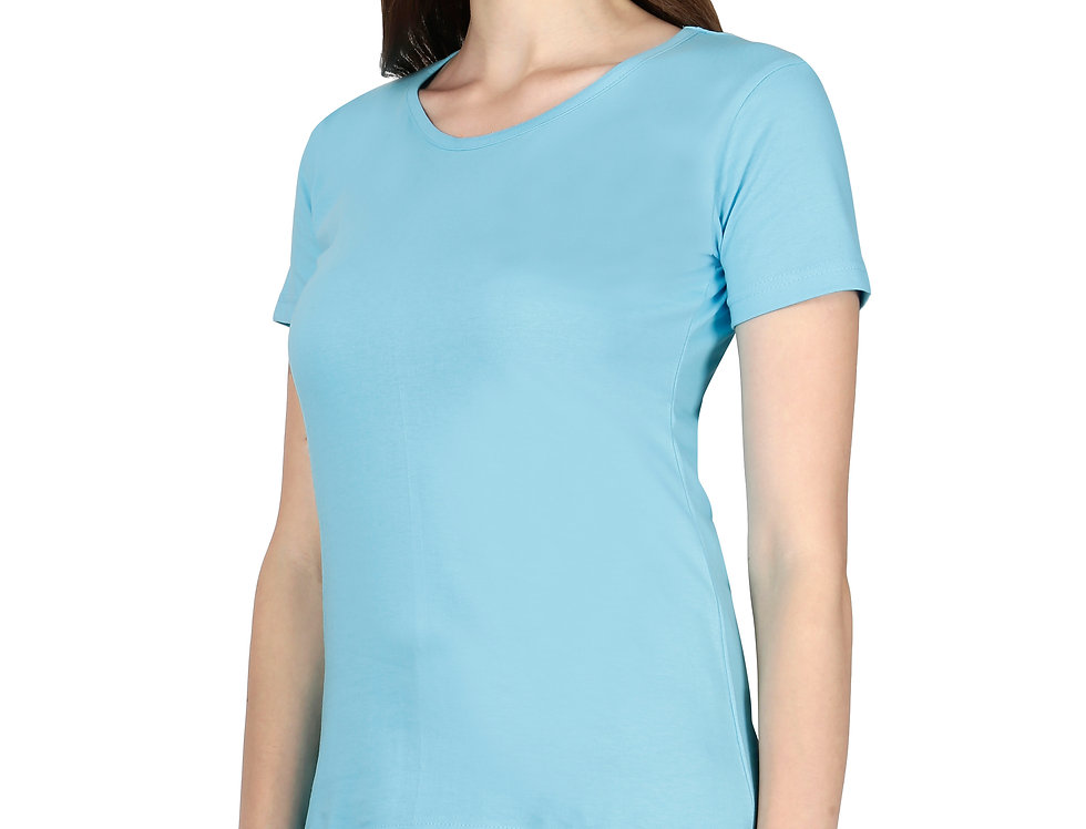 Sky Blue Solid Crew Neck T-Shirt For Women