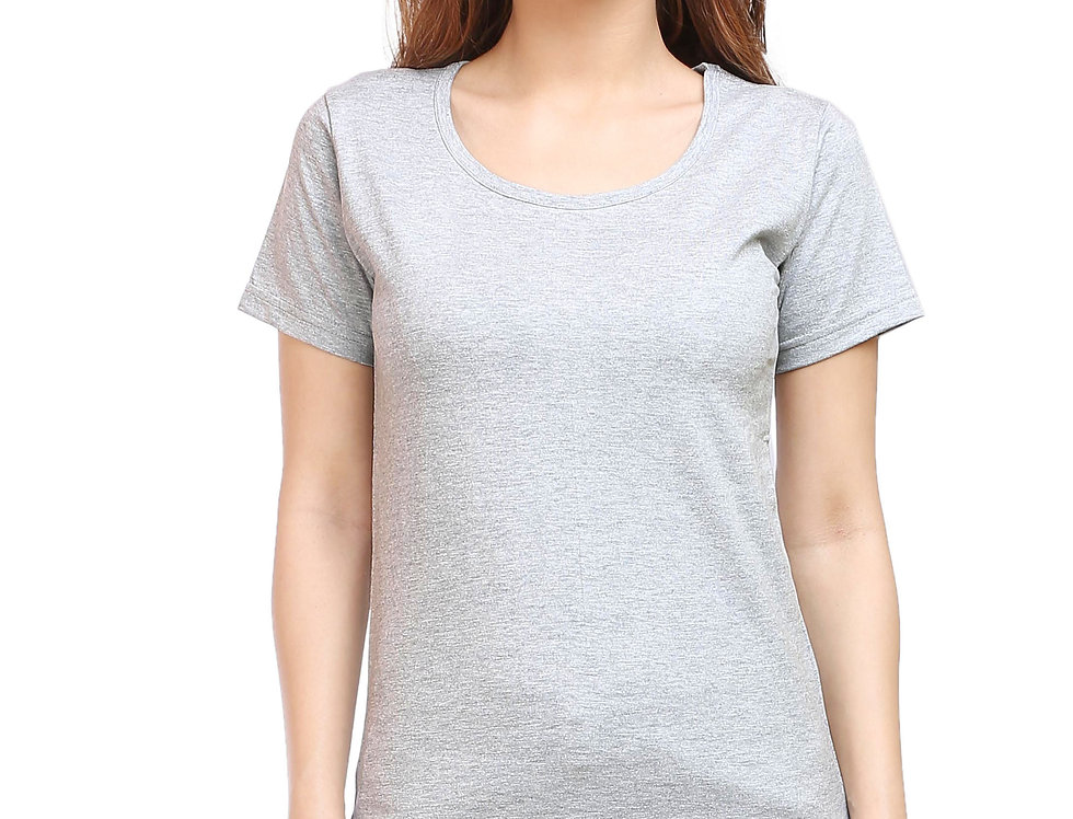Grey Melange Solid Crew Neck T-Shirt For Women