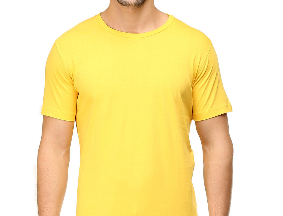 Yellow Cotton T-Shirt For Men