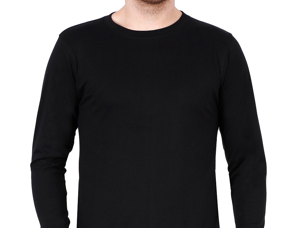 Black Long Sleeve Crew Neck T-Shirt For Men