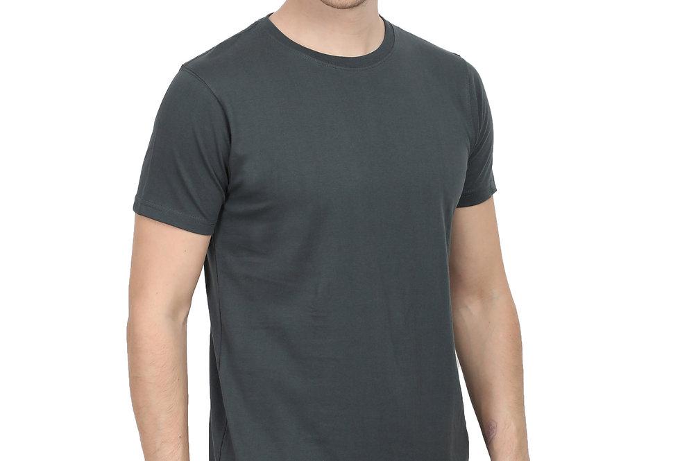Steel Grey Cotton T-Shirt For Men
