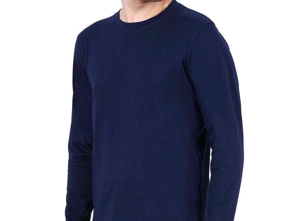 Navy Blue Long Sleeve Crew Neck T-Shirt For Men