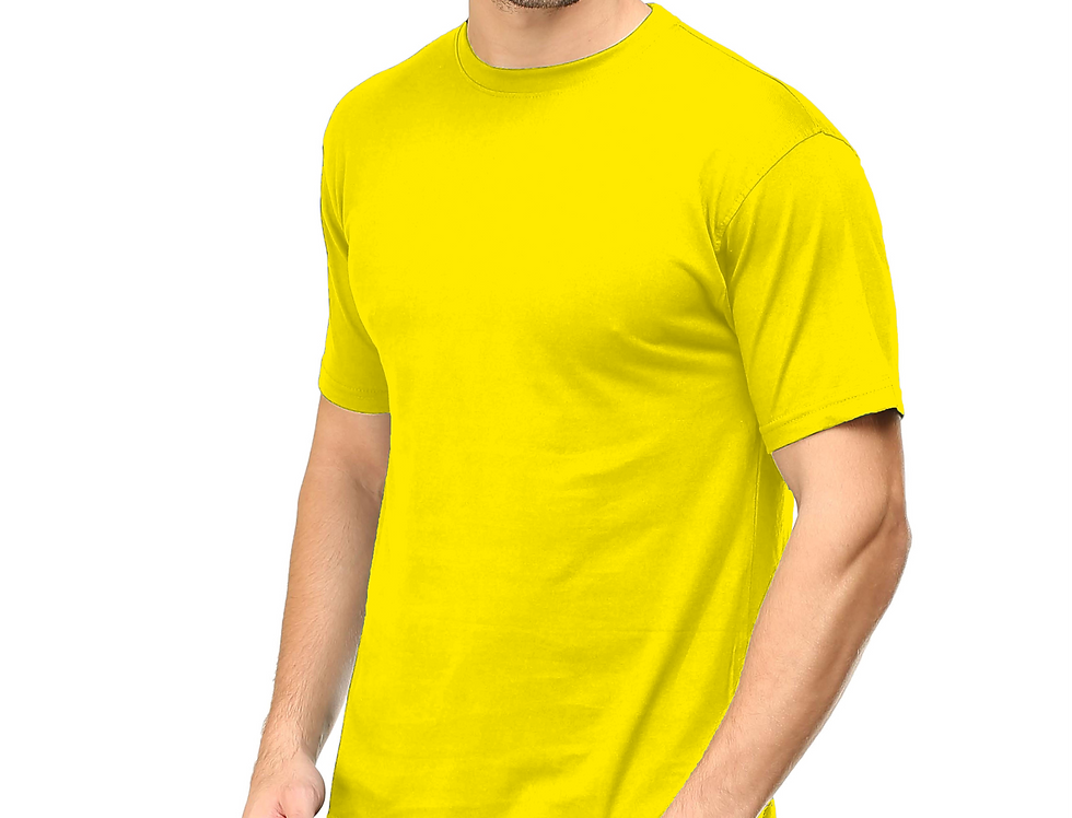 Neon Yellow Cotton T-Shirt For Men