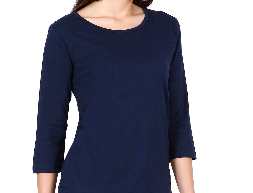 Navy Blue 3/4th Sleeve Cotton T-Shirt For Women