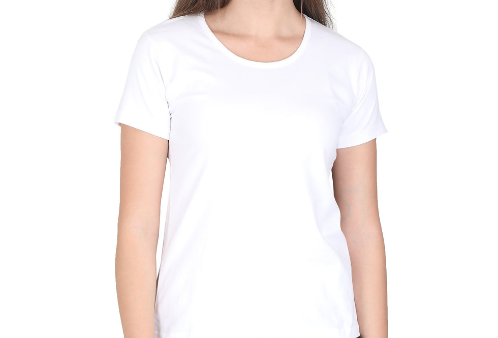 White Solid Crew Neck T-Shirt For Women