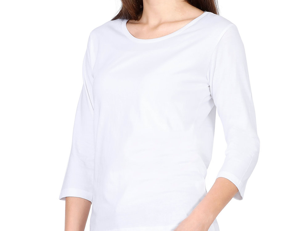 White 3/4th Sleeve Cotton T-Shirt For Women
