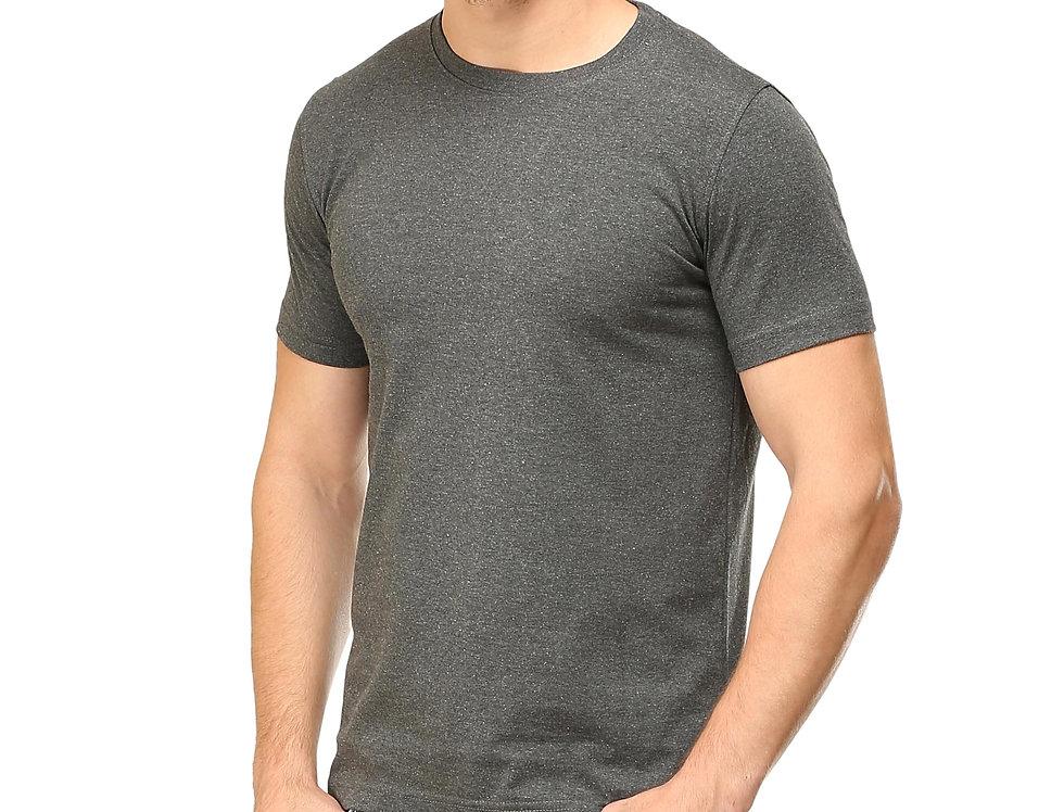 Charcoal Melange Cotton T-Shirt For Men