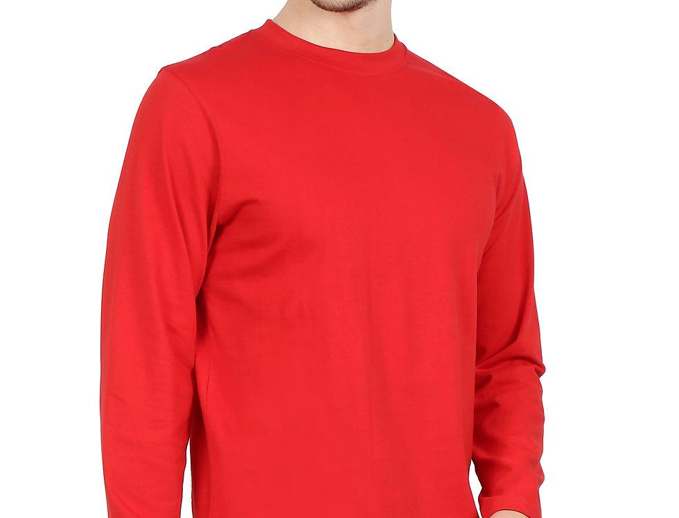 Red Long Sleeve Crew Neck T-Shirt For Men
