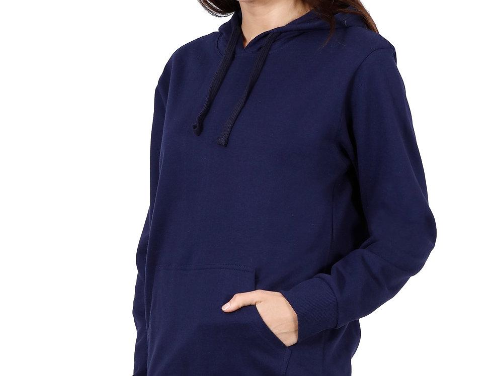 Navy Blue Hooded Sweatshirt For Women