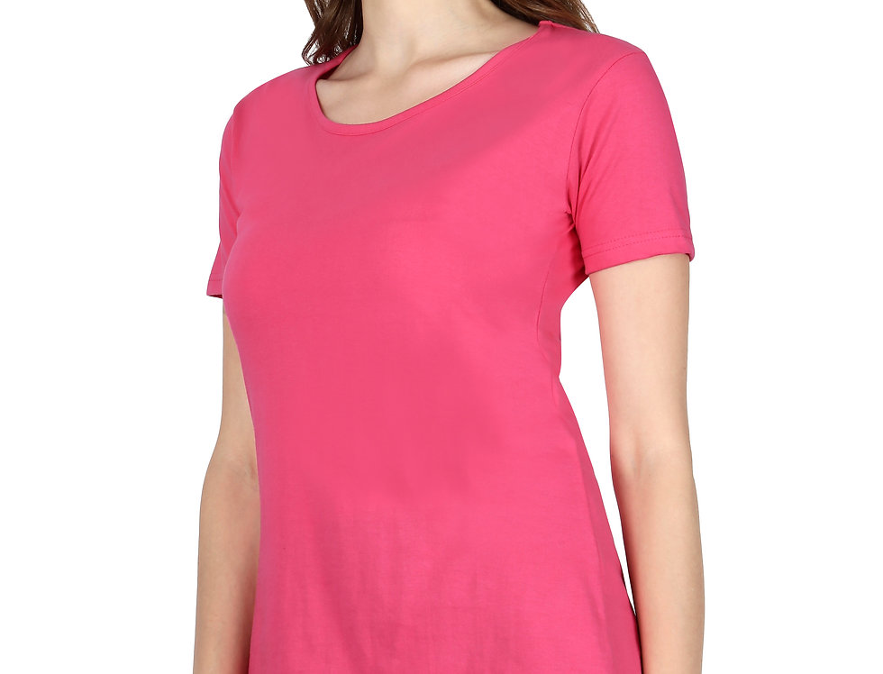 Pink Solid Crew Neck T-Shirt For Women
