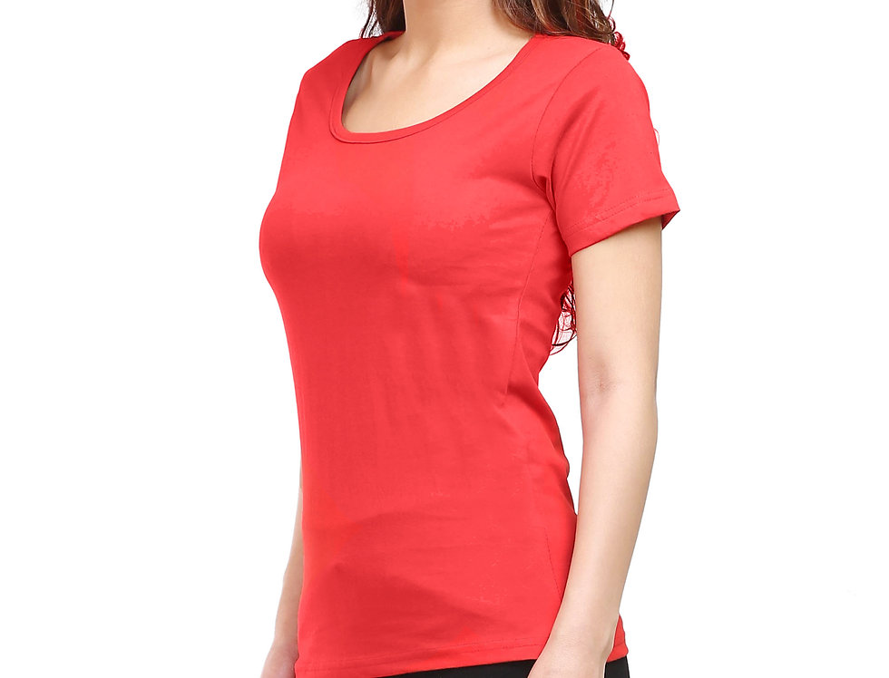 Red Solid Crew Neck T-Shirt For Women