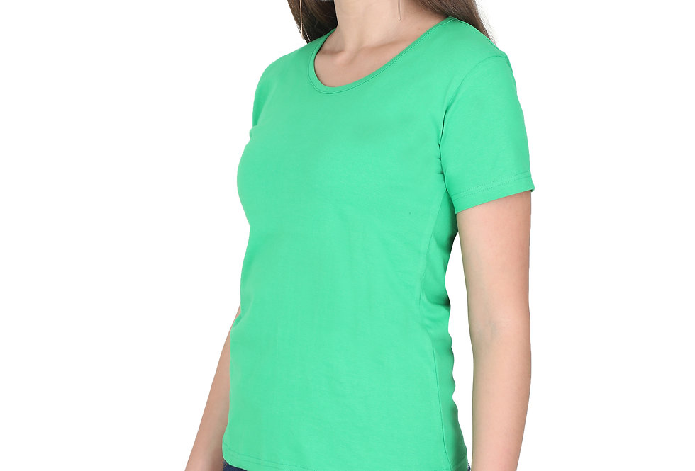 Flag Green Solid Crew Neck T-Shirt For Women