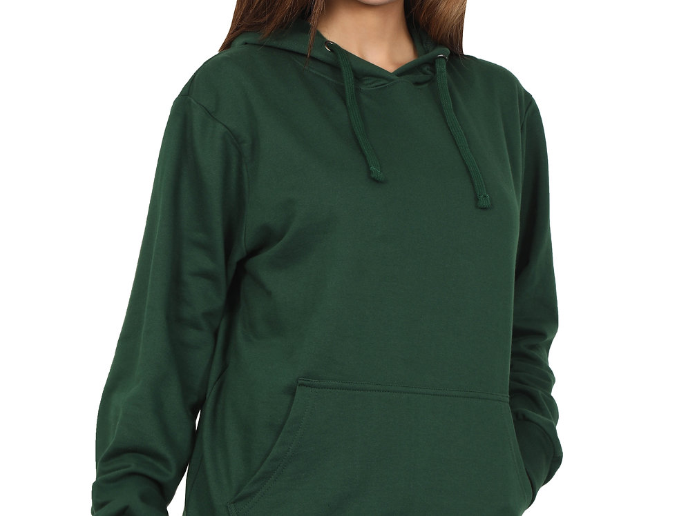 Bottle Green Hooded Sweatshirt For Women