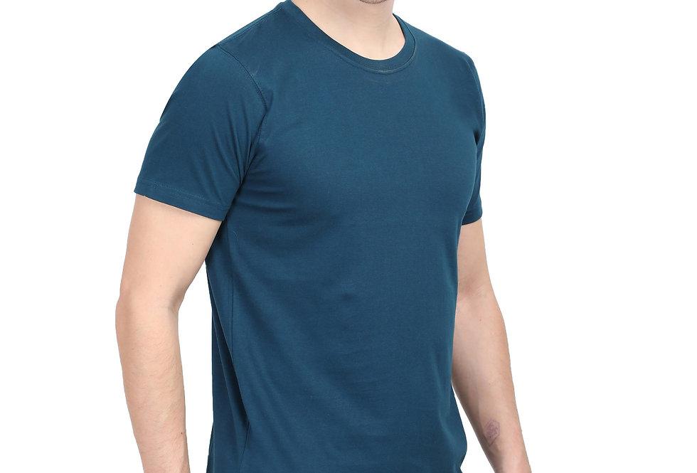 Teal Cotton T-Shirt For Men