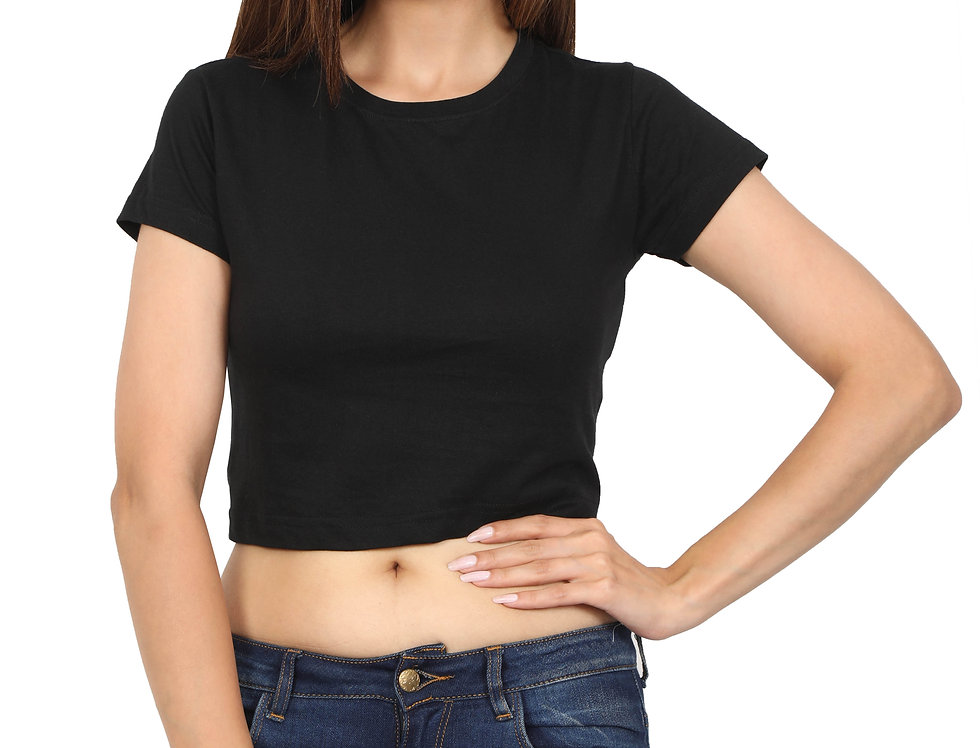 Black Cotton Crop Top For Women