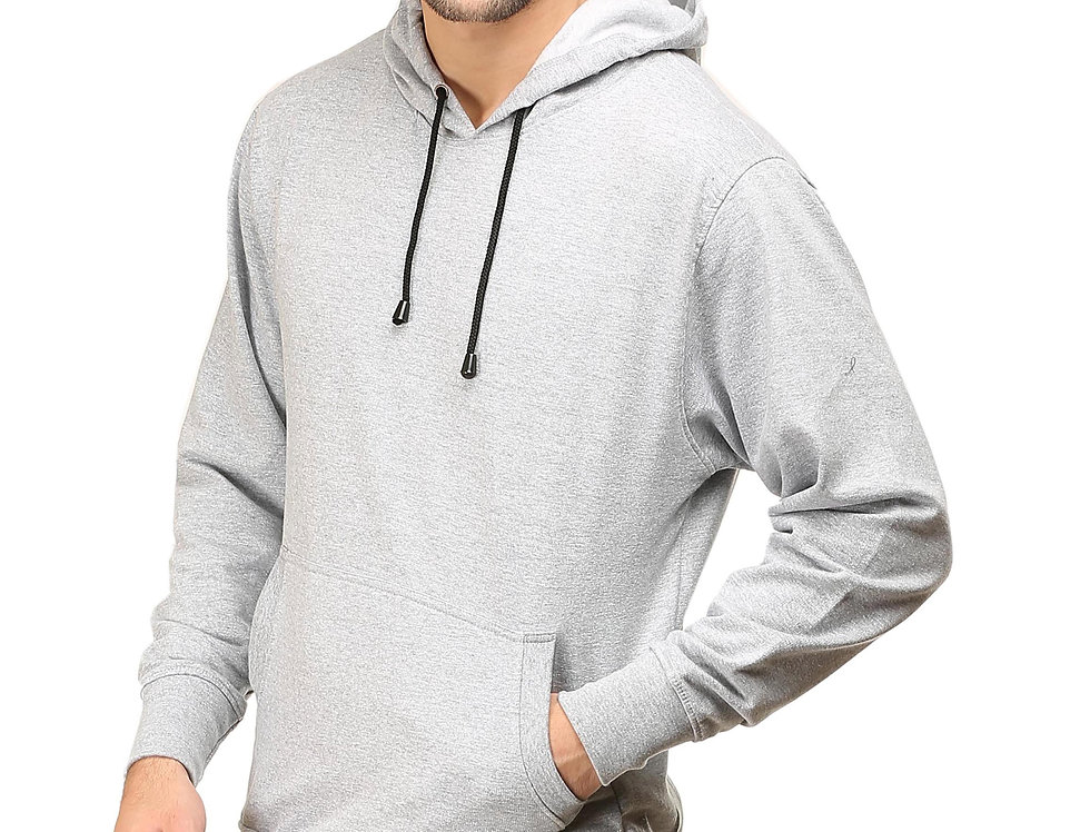 Grey Melange Hooded Sweatshirt For Men
