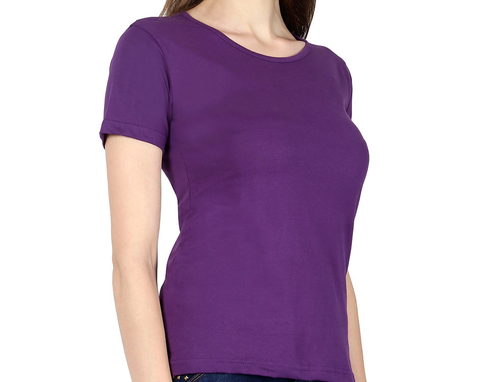 Purple Solid Crew Neck T-Shirt For Women