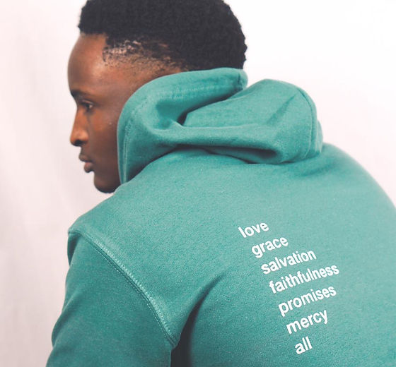 Male Back of Christian God of Hoodie Gre
