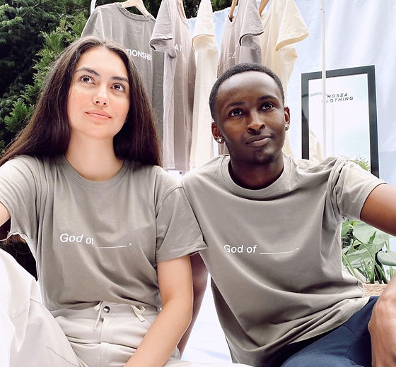 Marie and David wearing our God of Tee_