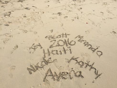 The Avera team leaves their mark on the beach near our home in Jérémie.