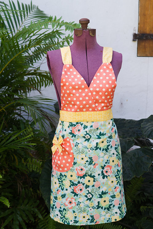 Apron Adult V-neckFloral and Polka Dots
