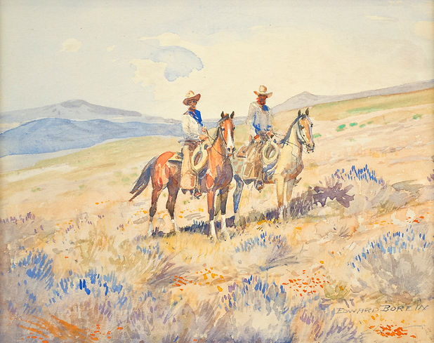 Edward Borein, Two Cowboys Watercolor Painting