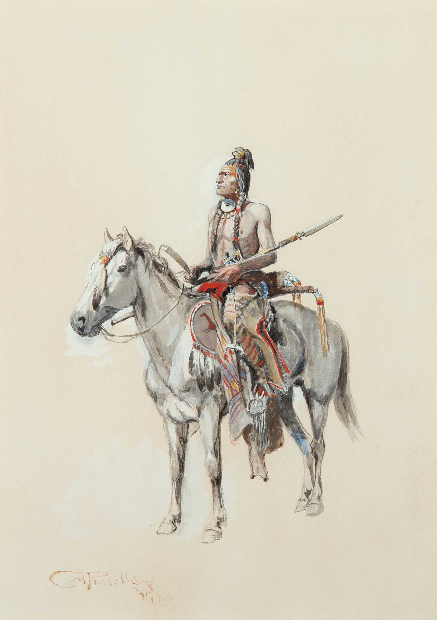 Indian on Horseback. 14 x 11 inches